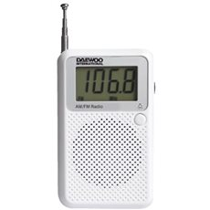 Daewoo DRP-115 - Radio de Bolsillo Digital Portátil AM/FM Blanco
